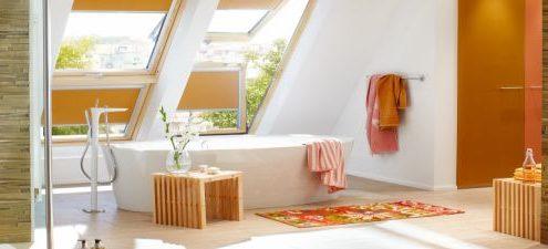 Bild Sonnenschutz im Badezimmer gold