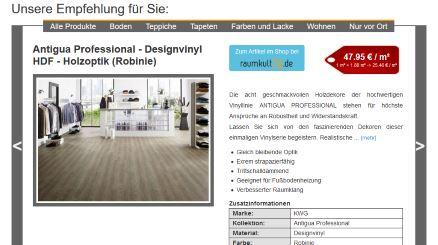 Bild Homepage mit Wotex Onlineschaufenster